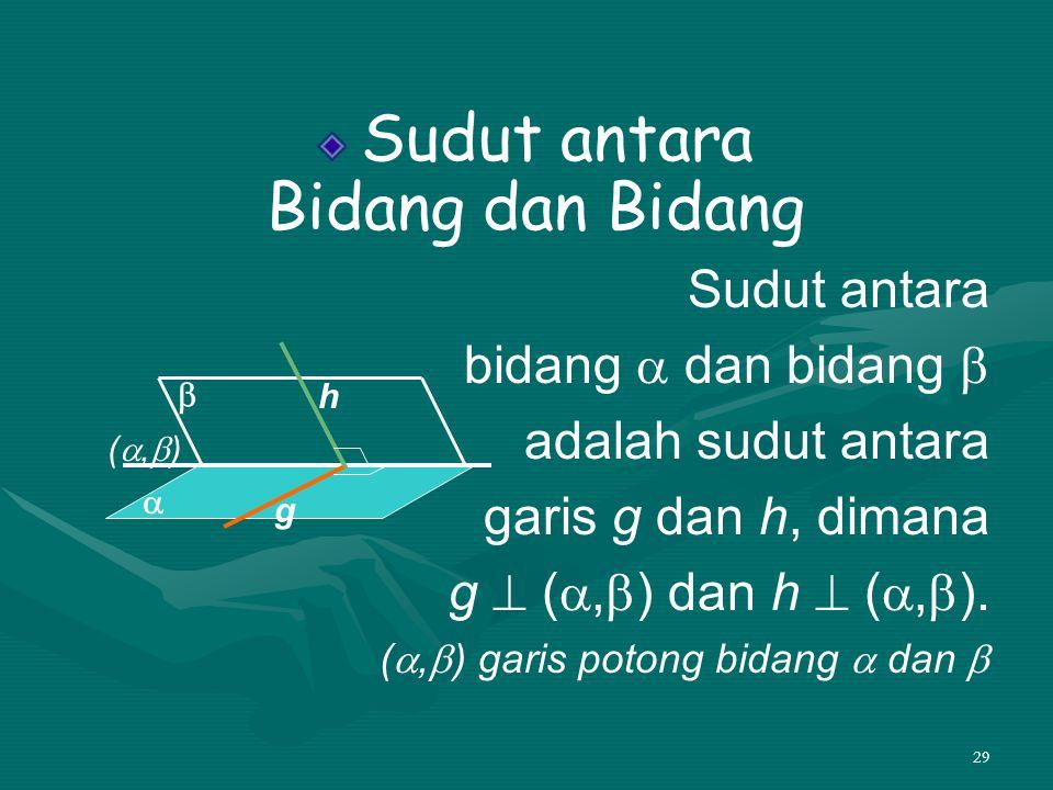 29 Sudut antara Bidang dan Bidang Sudut antara bidang  dan bidang  adalah sudut antara garis g dan h, dimana g  ( ,  ) dan h  ( ,  ). ( ,  )
