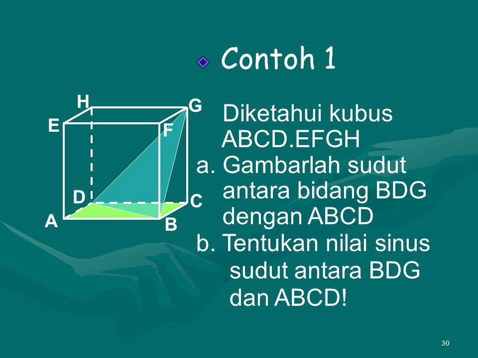 30 Contoh 1 Diketahui kubus ABCD.EFGH a. Gambarlah sudut antara bidang BDG dengan ABCD b. Tentukan nilai sinus sudut antara BDG dan ABCD! A B C D H E