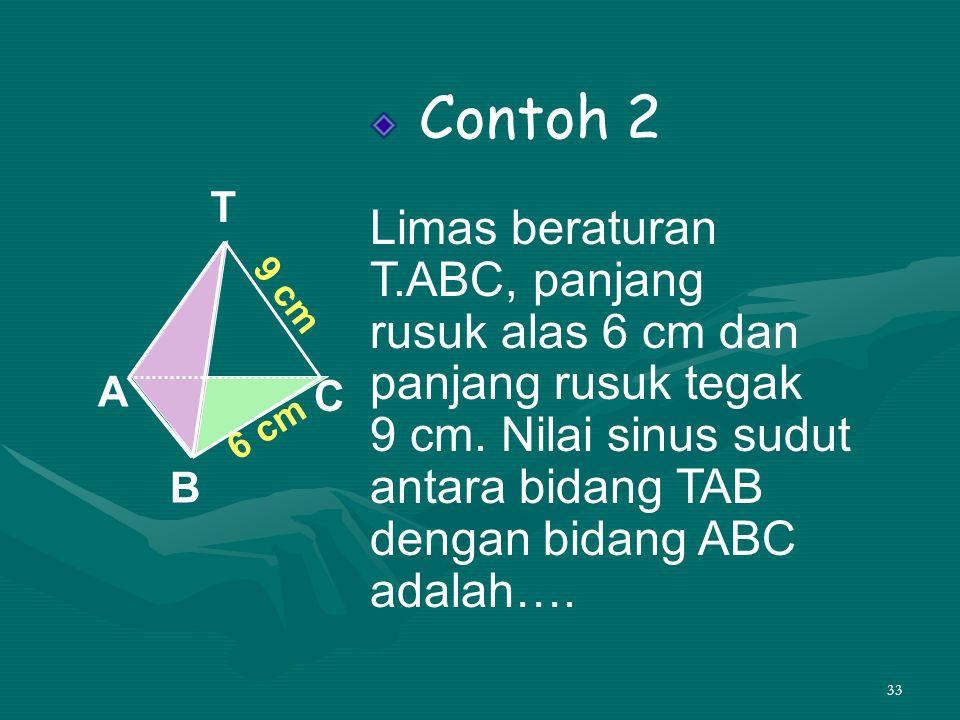 33 Contoh 2 Limas beraturan T.ABC, panjang rusuk alas 6 cm dan panjang rusuk tegak 9 cm. Nilai sinus sudut antara bidang TAB dengan bidang ABC adalah…