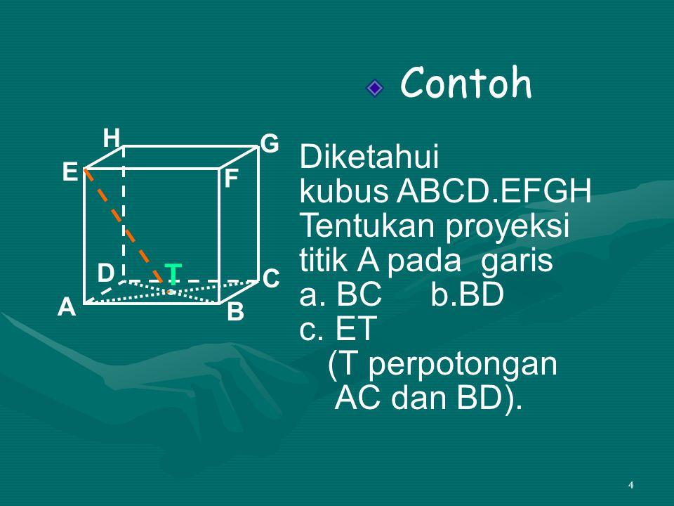 35 • Lihat ∆ TPC PT = 6√2, PC = 3√3 Aturan cosinus TC 2 = TP 2 + PC 2 – 2TP.TC.cos  TPC 81 = 72 + 27 – 2.6√2.3√3.cos  TPC 36√6.cos  TPC = 99 – 81 36√6.cos  TPC = 18 cos  TPC = = A B C T 9 cm P 6√2 3√3 2 1