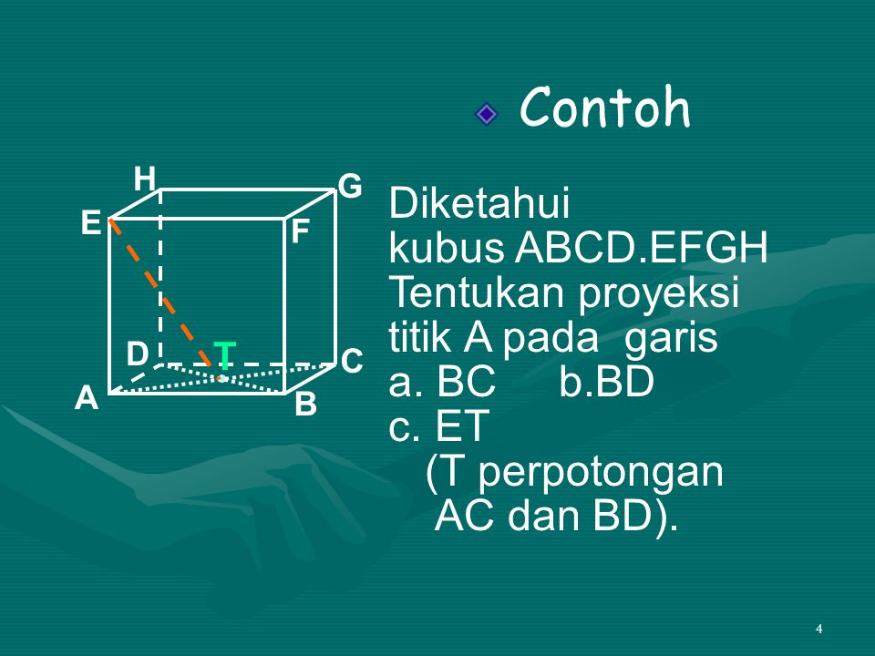 15 Contoh 2 Diketahui limas beraturanT.ABCD dengan panjang AB = 16 cm, TA = 18 cm Panjang proyeksi TA pada bidang ABCD adalah….
