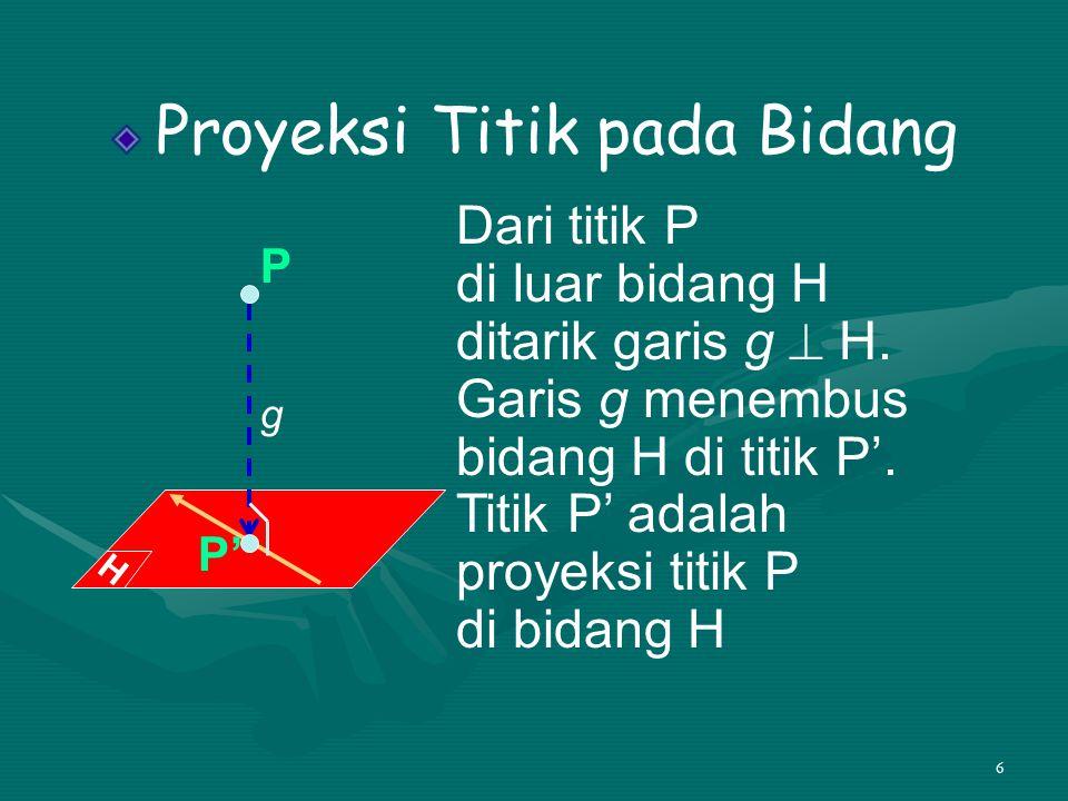 6 Proyeksi Titik pada Bidang Dari titik P di luar bidang H ditarik garis g  H. Garis g menembus bidang H di titik P'. Titik P' adalah proyeksi titik