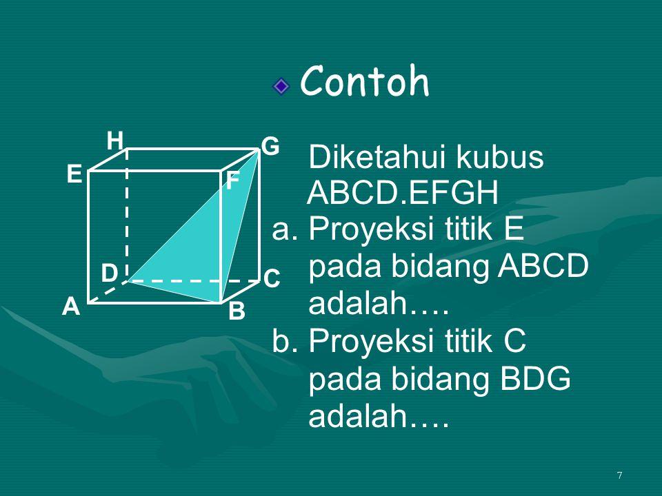 7 Contoh Diketahui kubus ABCD.EFGH a. Proyeksi titik E pada bidang ABCD adalah…. b. Proyeksi titik C pada bidang BDG adalah…. A B C D H E F G