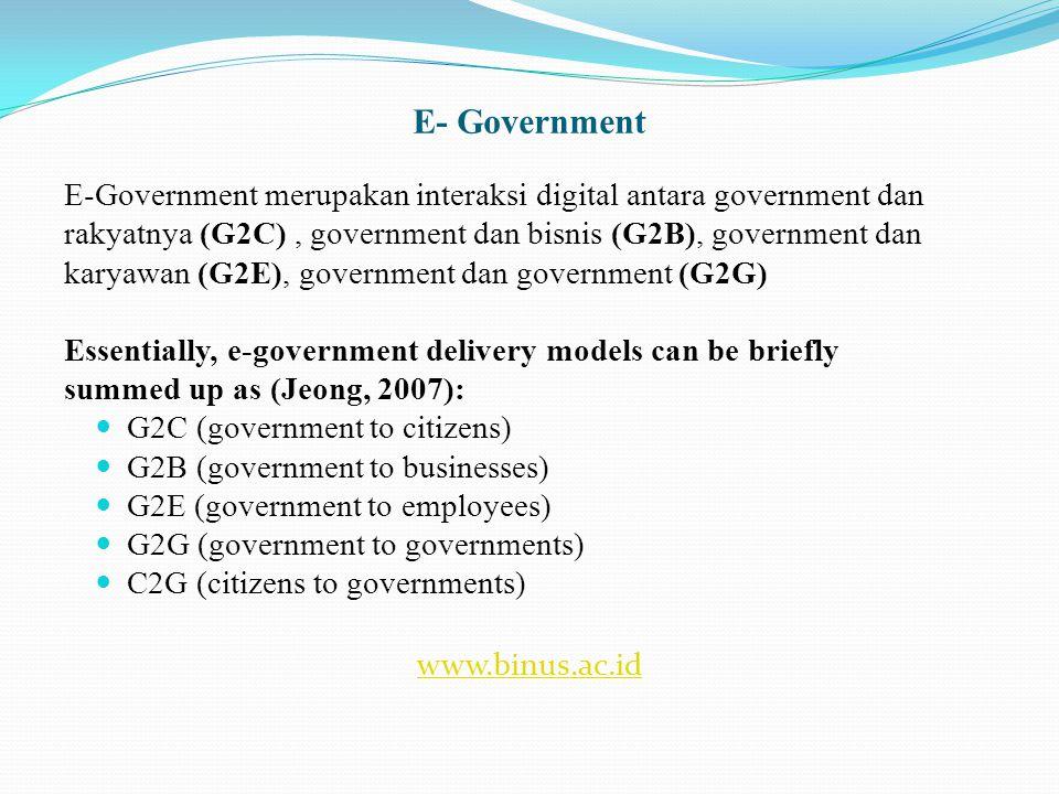 Konsep e-Government Indonesia  Pengembangan e-government merupakan upaya untuk mengembangkan penyelenggaraan kepemerintahan yang berbasis elektronik dalam rangka meningkatkan kualitas layanan publik secara efektif dan efisien.