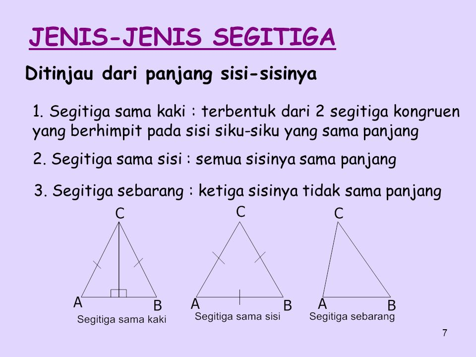 7 1. Segitiga sama kaki : terbentuk dari 2 segitiga kongruen yang berhimpit pada sisi siku-siku yang sama panjang JENIS-JENIS SEGITIGA 2. Segitiga sam