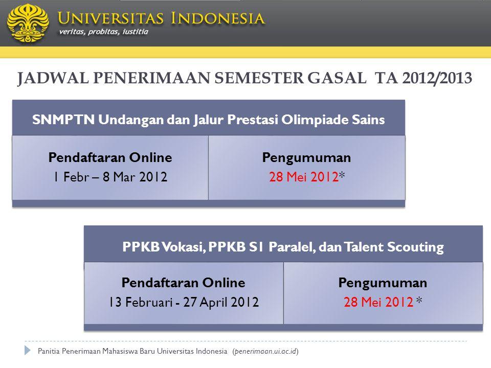 JADWAL PENERIMAAN SEMESTER GASAL TA 2012/2013 PPKB Vokasi, PPKB S1 Paralel, dan Talent Scouting Pendaftaran Online 13 Februari - 27 April 2012 Pengumu