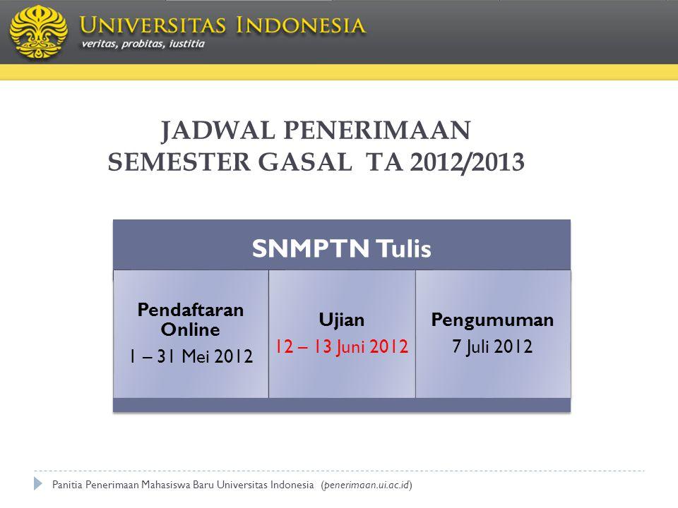 JADWAL PENERIMAAN SEMESTER GASAL TA 2012/2013 SNMPTN Tulis Pendaftaran Online 1 – 31 Mei 2012 Ujian 12 – 13 Juni 2012 Pengumuman 7 Juli 2012 Panitia P