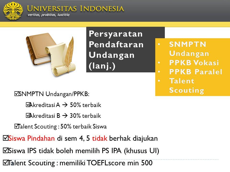 Persyaratan Pendaftaran Undangan(lanj.) • SNMPTN Undangan • PPKB Vokasi • PPKB Paralel • Talent Scouting  SNMPTN Undangan/PPKB:  Akreditasi A  50%