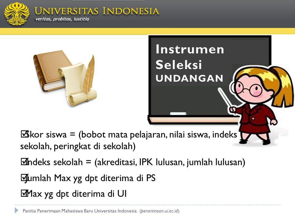 Panitia Penerimaan Mahasiswa Baru Universitas Indonesia (penerimaan.ui.ac.id) Instrumen Seleksi UNDANGAN  Skor siswa = (bobot mata pelajaran, nilai s