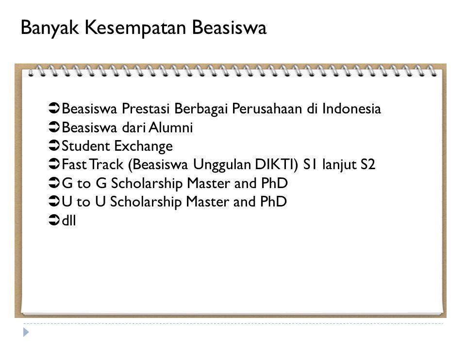  Beasiswa Prestasi Berbagai Perusahaan di Indonesia  Beasiswa dari Alumni  Student Exchange  Fast Track (Beasiswa Unggulan DIKTI) S1 lanjut S2  G to G Scholarship Master and PhD  U to U Scholarship Master and PhD  dll Banyak Kesempatan Beasiswa