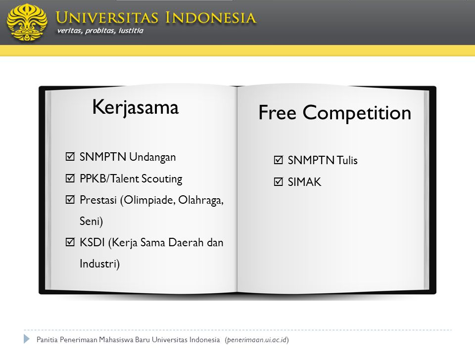 JALUR MASUK Panitia Penerimaan Mahasiswa Baru Universitas Indonesia (penerimaan.ui.ac.id)  SNMPTN Undangan  PPKB/Talent Scouting  Prestasi (Olimpia