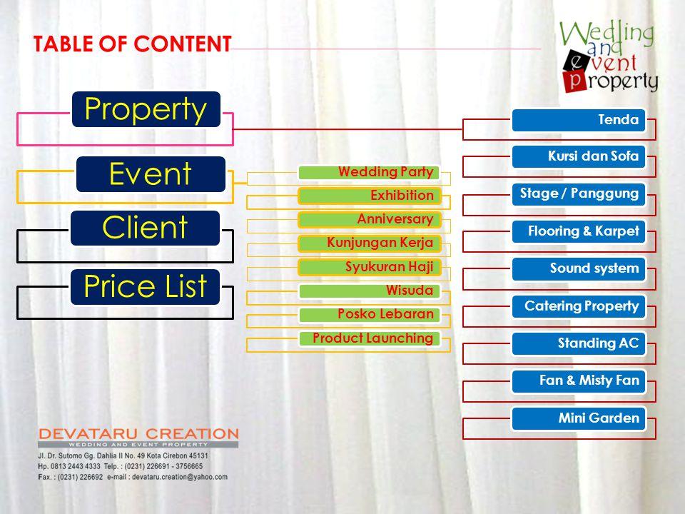 TendaKursi dan SofaStage / PanggungFlooring & KarpetSound systemCatering PropertyStanding ACFan & Misty FanMini Garden PropertyEventClientPrice List W