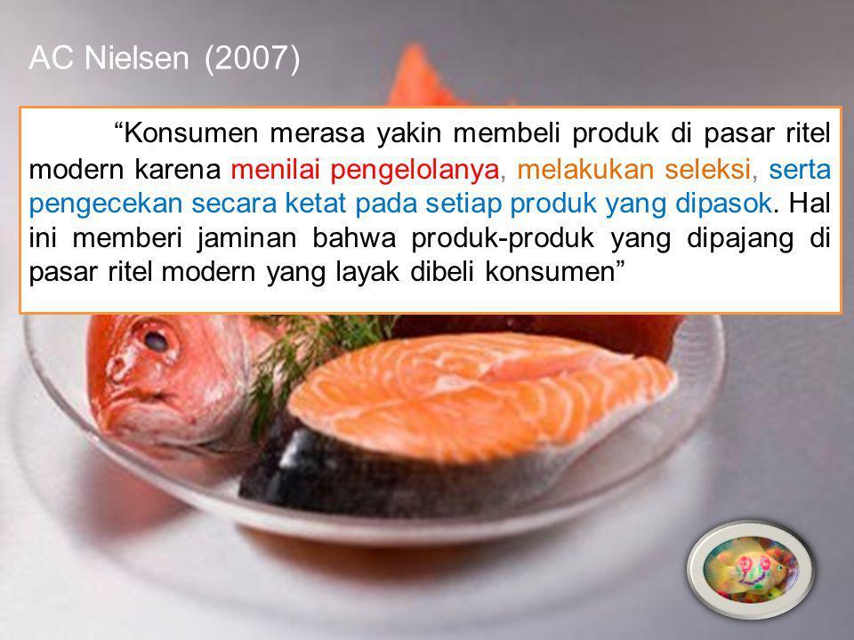 AC Nielsen (2007) Konsumen merasa yakin membeli produk di pasar ritel modern karena menilai pengelolanya, melakukan seleksi, serta pengecekan secara ketat pada setiap produk yang dipasok.