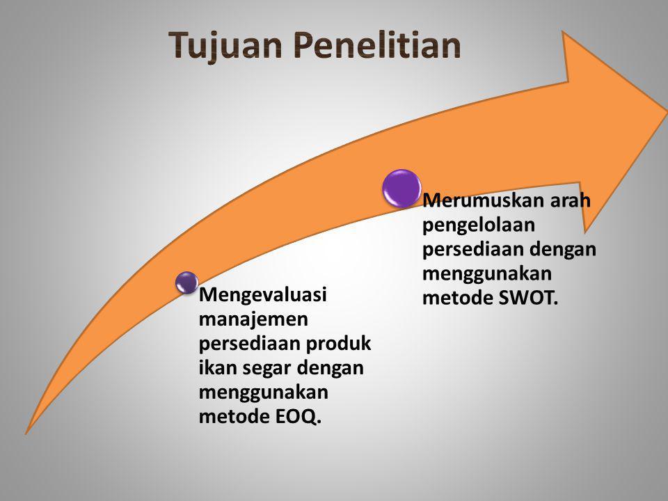 Mengevaluasi manajemen persediaan produk ikan segar dengan menggunakan metode EOQ. Merumuskan arah pengelolaan persediaan dengan menggunakan metode SW