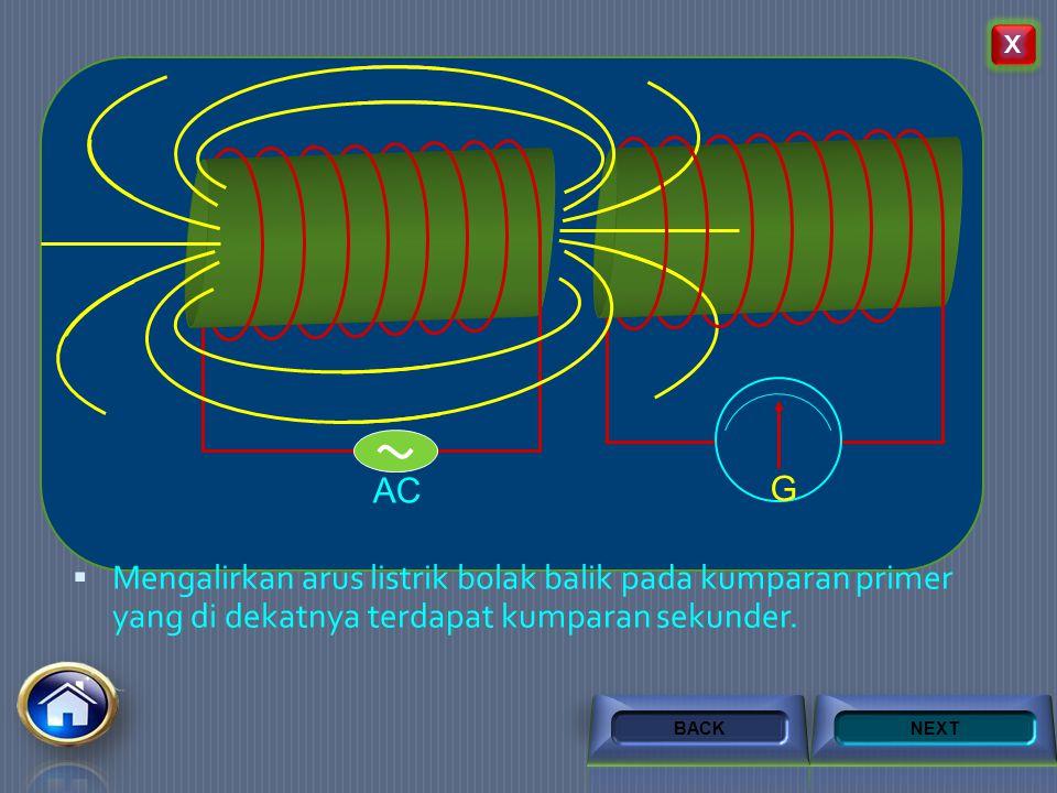  Memutus mutus arus pada kumparan primer yang didekatnya terdapat kumparan sekunder G dc NEXTBACK Klik untuk gerakan magnet