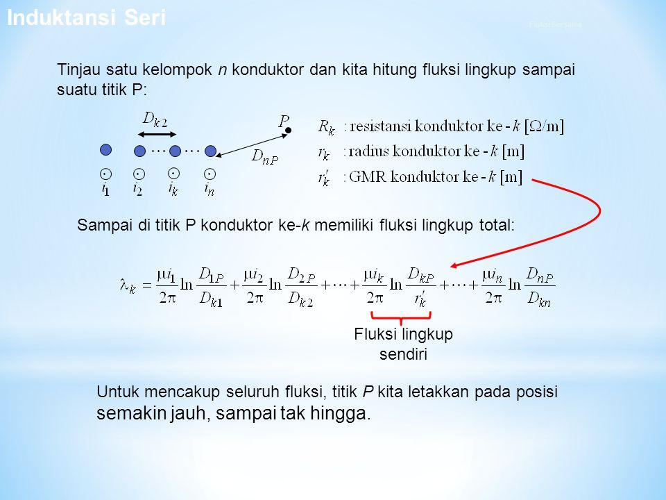 Tinjau satu kelompok n konduktor dan kita hitung fluksi lingkup sampai suatu titik P: Sampai di titik P konduktor ke-k memiliki fluksi lingkup total: