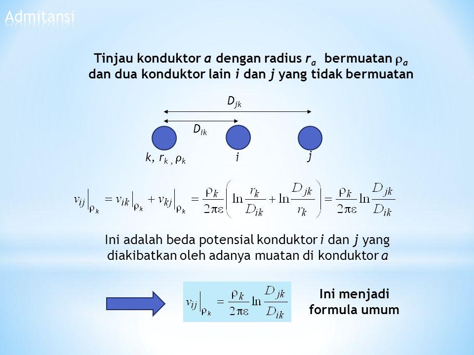 Tinjau konduktor a dengan radius r a bermuatan  a dan dua konduktor lain i dan j yang tidak bermuatan i D ik j k, r k,  k D jk Ini adalah beda poten