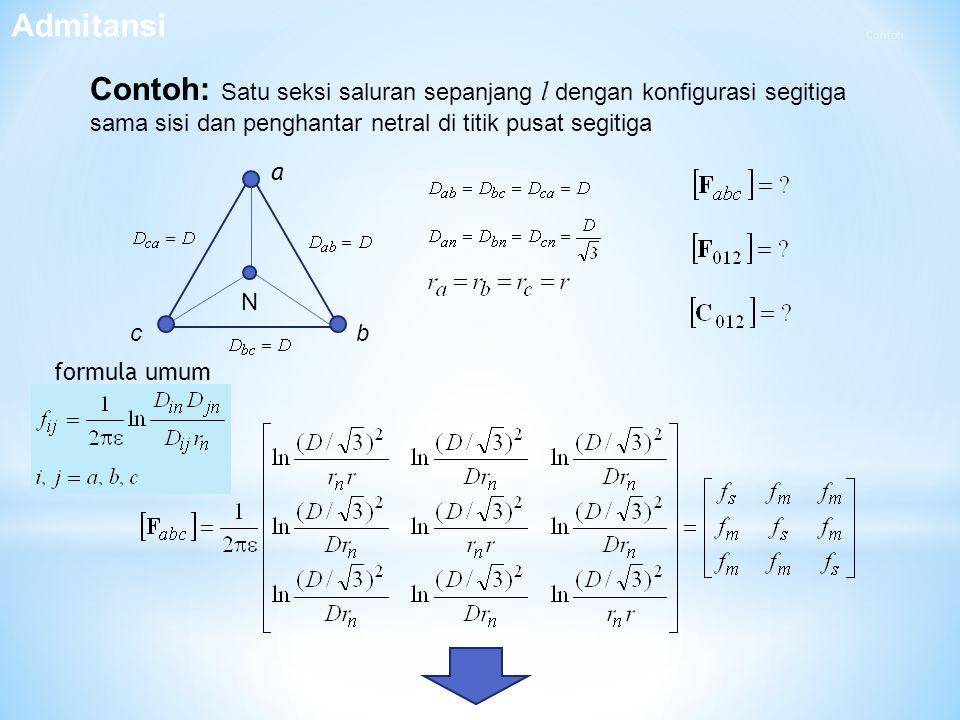 Contoh: Satu seksi saluran sepanjang l dengan konfigurasi segitiga sama sisi dan penghantar netral di titik pusat segitiga b a c N Admitansi formula u