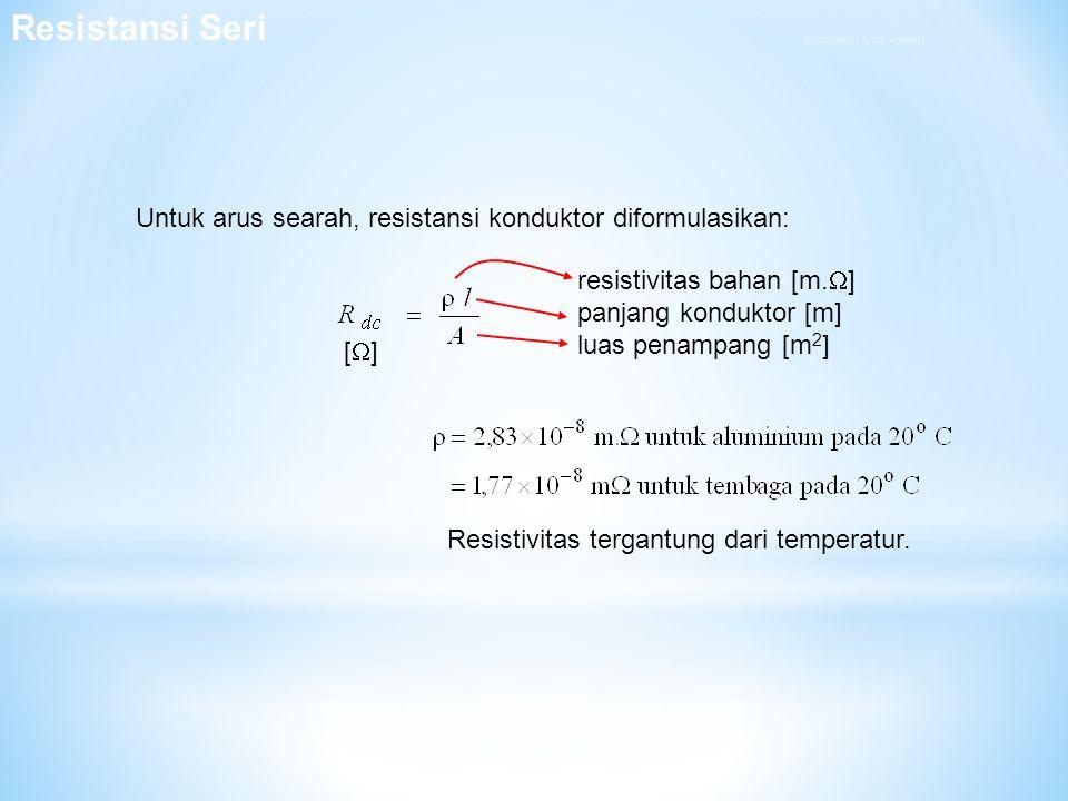 Untuk arus searah, resistansi konduktor diformulasikan: resistivitas bahan [m.  ] panjang konduktor [m] luas penampang [m 2 ] [][] Resistivitas ter