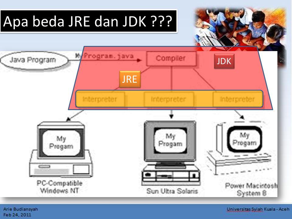 Apa beda JRE dan JDK JDK JRE