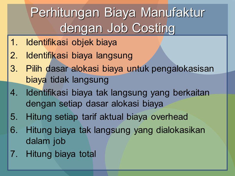 Perhitungan Biaya Manufaktur dengan Job Costing 1.Identifikasi objek biaya 2.Identifikasi biaya langsung 3.Pilih dasar alokasi biaya untuk pengalokasi