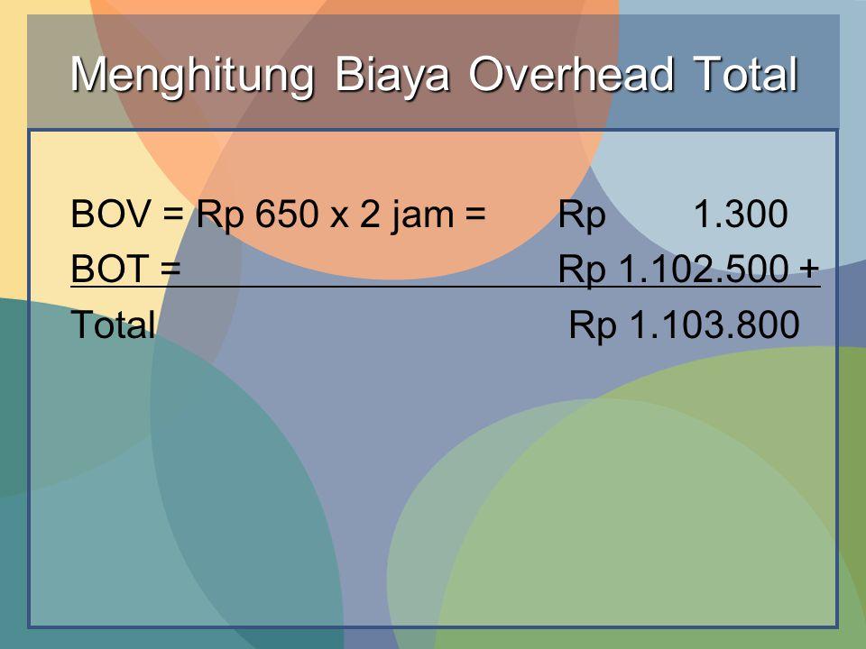 Menghitung Biaya Overhead Total BOV = Rp 650 x 2 jam =Rp 1.300 BOT =Rp 1.102.500 + Total Rp 1.103.800