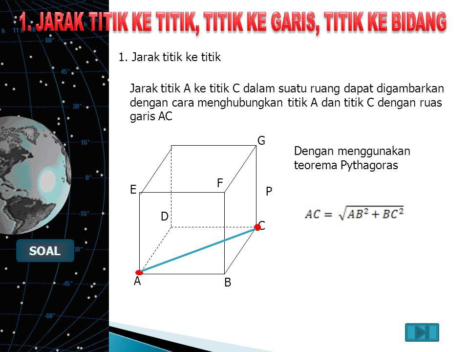 1. Jarak titik ketitik, titik ke garis dan titik ke bidang Jarak titik ke titik Jarak titik ke titik Jarak titik ke bidang Jarak titik ke bidang Jarak