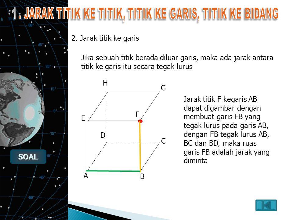 Soal 2 Dengan menggunakan kubus ABCD-EFGH, dengan panjang rusuk 4 cm. Titik P pertengahan bidang ADHE maka jarak titik C ke P adalah: E A H B C F G D