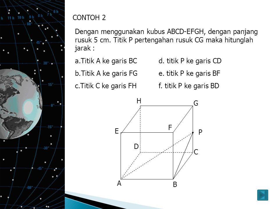 3. Jarak titik ke bidang Jarak sebuah titik berada di luar bidang, maka ada jarak antara titik ke bidang tersebut A B C E F G D H Jarak titik F ke bid
