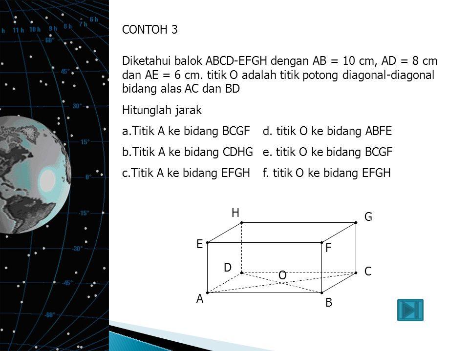 CONTOH 2 Dengan menggunakan kubus ABCD-EFGH, dengan panjang rusuk 5 cm. Titik P pertengahan rusuk CG maka hitunglah jarak : a.Titik A ke garis BCd. ti