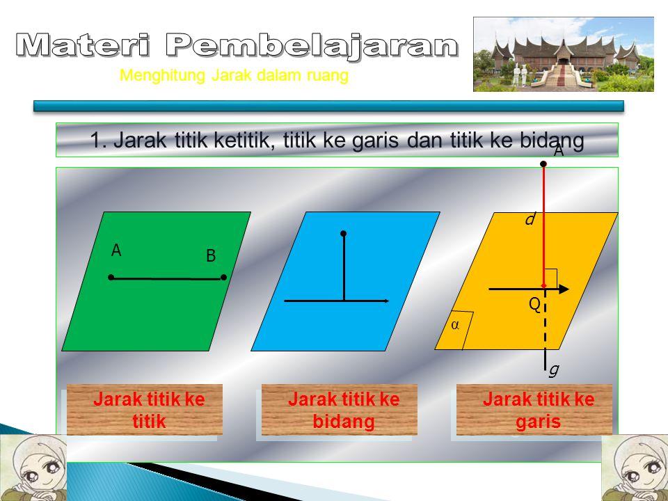 CONTOH 3 Diketahui balok ABCD-EFGH dengan AB = 10 cm, AD = 8 cm dan AE = 6 cm. titik O adalah titik potong diagonal-diagonal bidang alas AC dan BD Hit