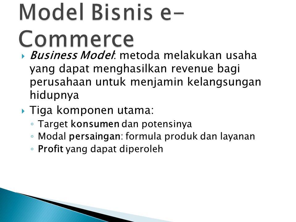  Business Model: metoda melakukan usaha yang dapat menghasilkan revenue bagi perusahaan untuk menjamin kelangsungan hidupnya  Tiga komponen utama: ◦ Target konsumen dan potensinya ◦ Modal persaingan: formula produk dan layanan ◦ Profit yang dapat diperoleh