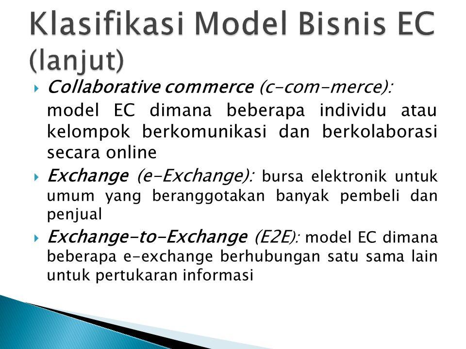  Collaborative commerce (c-com-merce): model EC dimana beberapa individu atau kelompok berkomunikasi dan berkolaborasi secara online  Exchange (e-Exchange): bursa elektronik untuk umum yang beranggotakan banyak pembeli dan penjual  Exchange-to-Exchange (E2E ): model EC dimana beberapa e-exchange berhubungan satu sama lain untuk pertukaran informasi