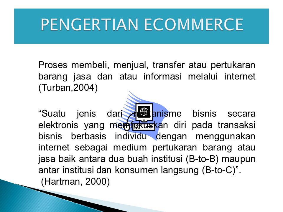 Proses membeli, menjual, transfer atau pertukaran barang jasa dan atau informasi melalui internet (Turban,2004) Suatu jenis dari mekanisme bisnis secara elektronis yang memfokuskan diri pada transaksi bisnis berbasis individu dengan menggunakan internet sebagai medium pertukaran barang atau jasa baik antara dua buah institusi (B-to-B) maupun antar institusi dan konsumen langsung (B-to-C) .