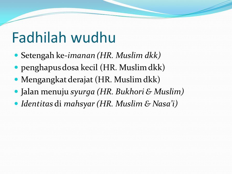 Fadhilah wudhu  Setengah ke-imanan (HR.Muslim dkk)  penghapus dosa kecil (HR.