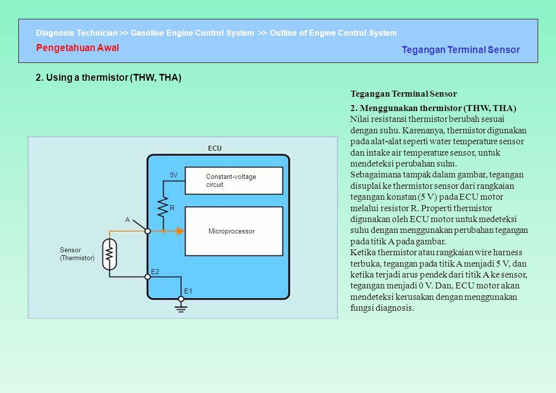 Diagnosis Technician >> Gasoline Engine Control System >> Outline of Engine Control System ECU Sensor (Thermistor) R E2 E1 Constant-voltage circuit M