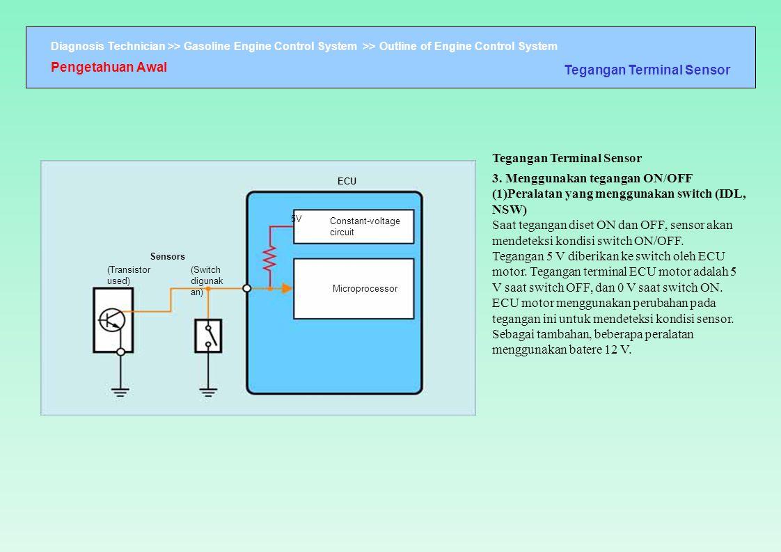 Diagnosis Technician >> Gasoline Engine Control System >> Outline of Engine Control System ECU (Transistor used) 5V Constant-voltage circuit Micropro