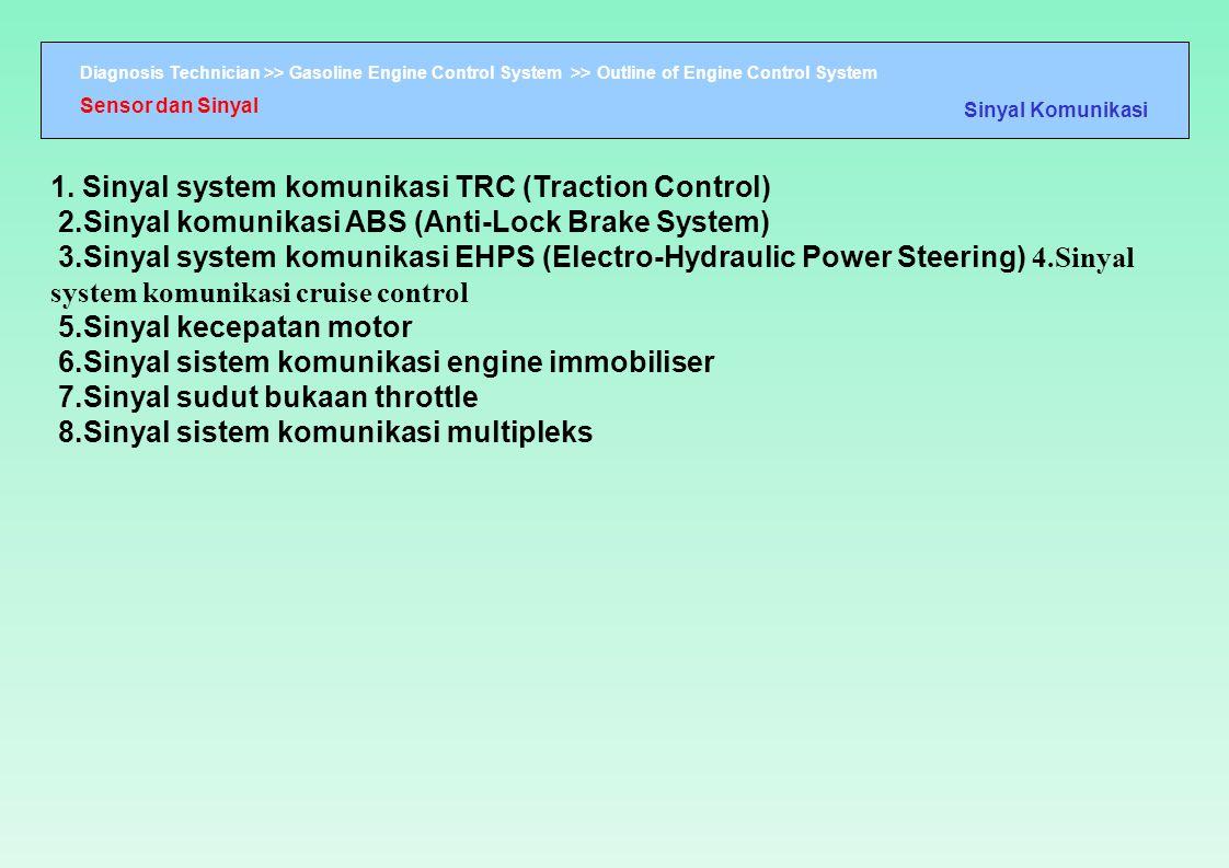 Diagnosis Technician >> Gasoline Engine Control System >> Outline of Engine Control System 1. Sinyal system komunikasi TRC (Traction Control) 2.Sinyal