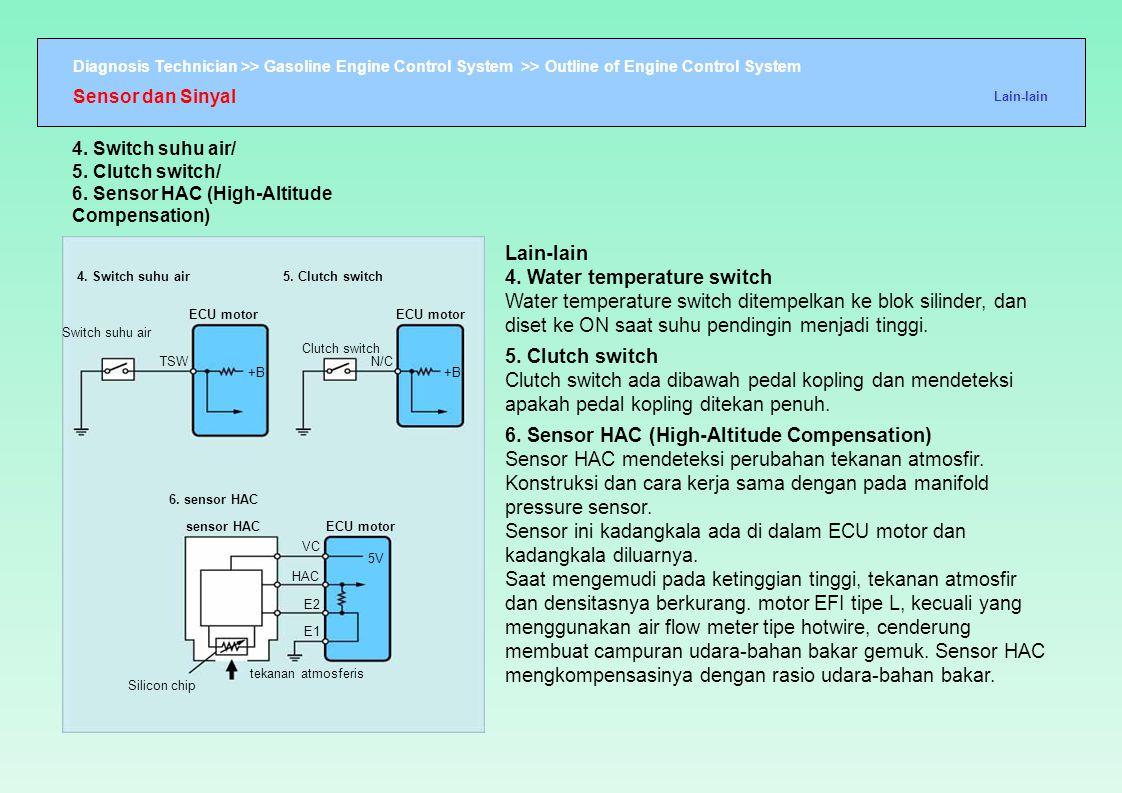 Diagnosis Technician >> Gasoline Engine Control System >> Outline of Engine Control System 4. Switch suhu air5. Clutch switch Switch suhu air ECU moto