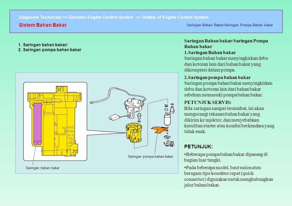 Diagnosis Technician >> Gasoline Engine Control System >> Outline of Engine Control System 1. Saringan bahan bakar/ 2. Saringan pompa bahan bakar Sari