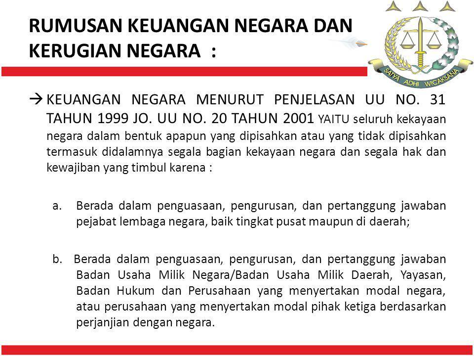 RUMUSAN KEUANGAN NEGARA DAN KERUGIAN NEGARA :  KEUANGAN NEGARA MENURUT PENJELASAN UU NO. 31 TAHUN 1999 JO. UU NO. 20 TAHUN 2001 YAITU seluruh kekayaa