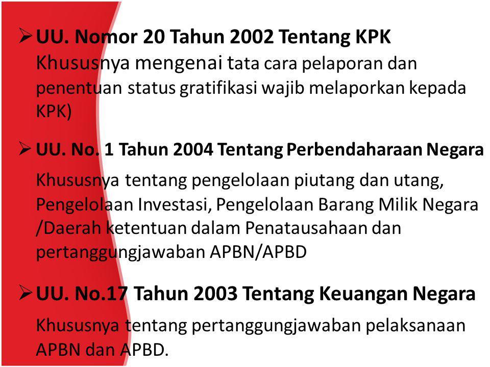  UU. Nomor 20 Tahun 2002 Tentang KPK Khususnya mengenai t ata cara pelaporan dan penentuan status gratifikasi wajib melaporkan kepada KPK)  UU. No.