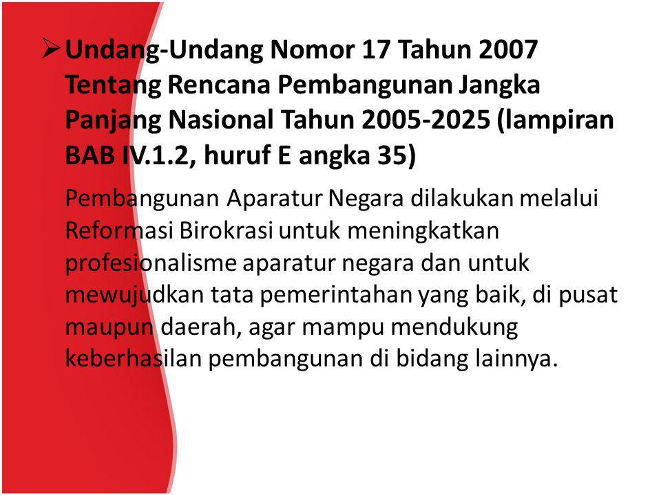  Undang-Undang Nomor 17 Tahun 2007 Tentang Rencana Pembangunan Jangka Panjang Nasional Tahun 2005-2025 (lampiran BAB IV.1.2, huruf E angka 35) Pemban