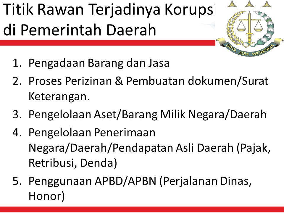 Titik Rawan Terjadinya Korupsi di Pemerintah Daerah 1.Pengadaan Barang dan Jasa 2.Proses Perizinan & Pembuatan dokumen/Surat Keterangan.