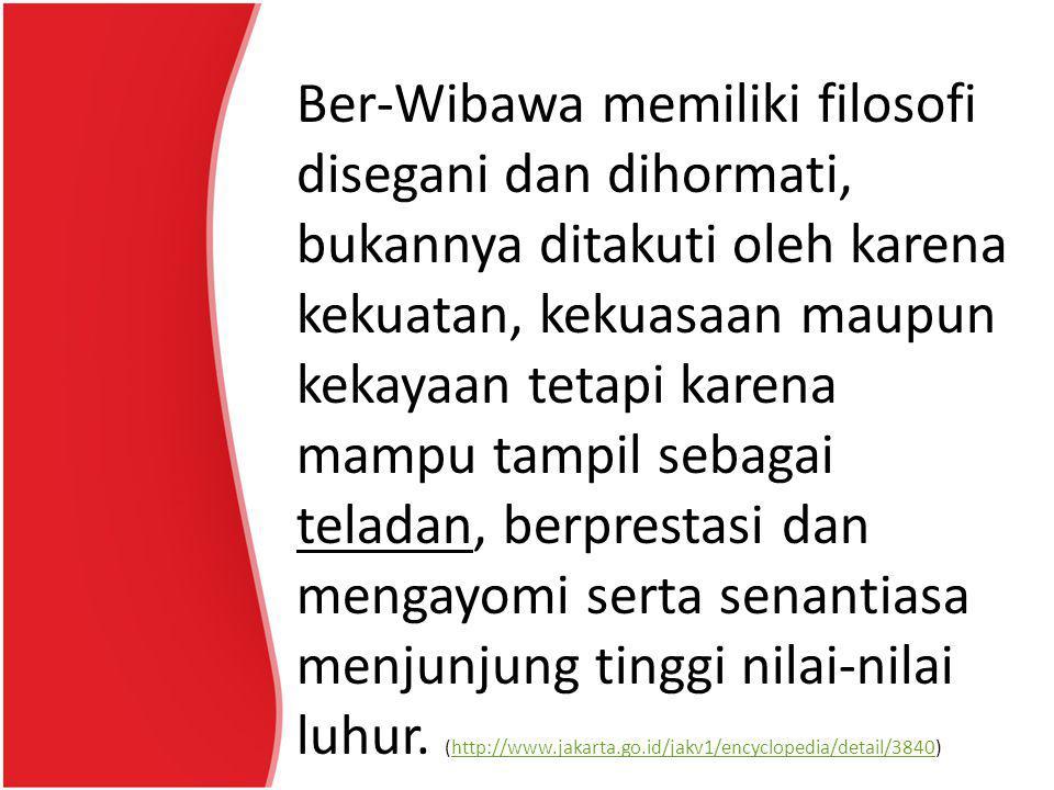 Ber-Wibawa memiliki filosofi disegani dan dihormati, bukannya ditakuti oleh karena kekuatan, kekuasaan maupun kekayaan tetapi karena mampu tampil sebagai teladan, berprestasi dan mengayomi serta senantiasa menjunjung tinggi nilai-nilai luhur.