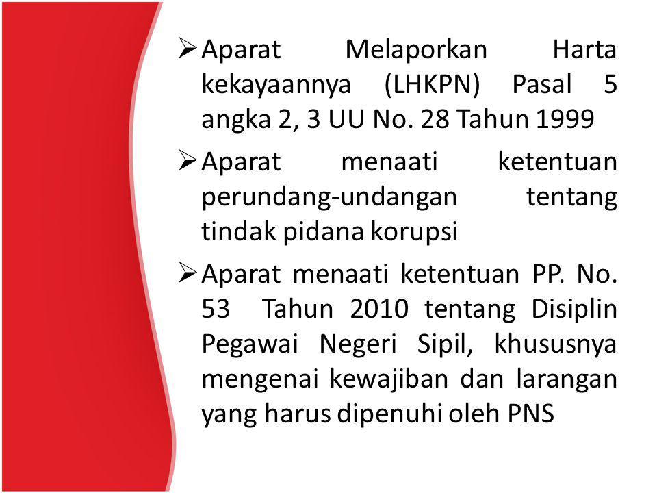  Aparat Melaporkan Harta kekayaannya (LHKPN) Pasal 5 angka 2, 3 UU No. 28 Tahun 1999  Aparat menaati ketentuan perundang-undangan tentang tindak pid
