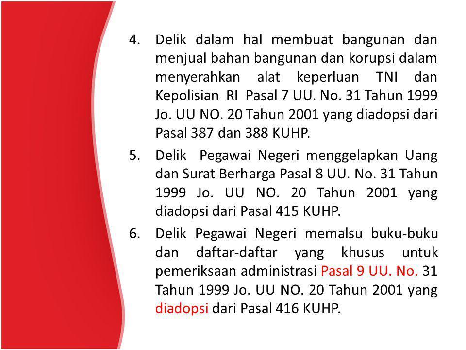 4.Delik dalam hal membuat bangunan dan menjual bahan bangunan dan korupsi dalam menyerahkan alat keperluan TNI dan Kepolisian RI Pasal 7 UU.