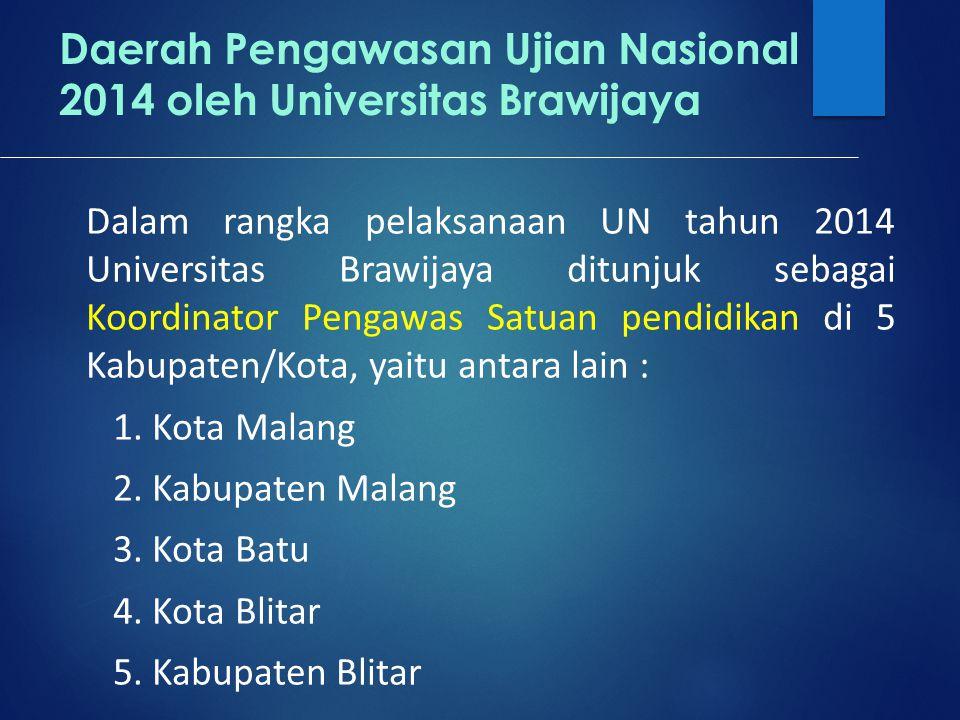 Daerah Pengawasan Ujian Nasional 2014 oleh Universitas Brawijaya Dalam rangka pelaksanaan UN tahun 2014 Universitas Brawijaya ditunjuk sebagai Koordinator Pengawas Satuan pendidikan di 5 Kabupaten/Kota, yaitu antara lain : 1.