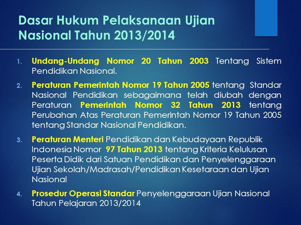 Dasar Hukum Pelaksanaan Ujian Nasional Tahun 2013/2014 1. Undang-Undang Nomor 20 Tahun 2003 Tentang Sistem Pendidikan Nasional. 2. Peraturan Pemerinta