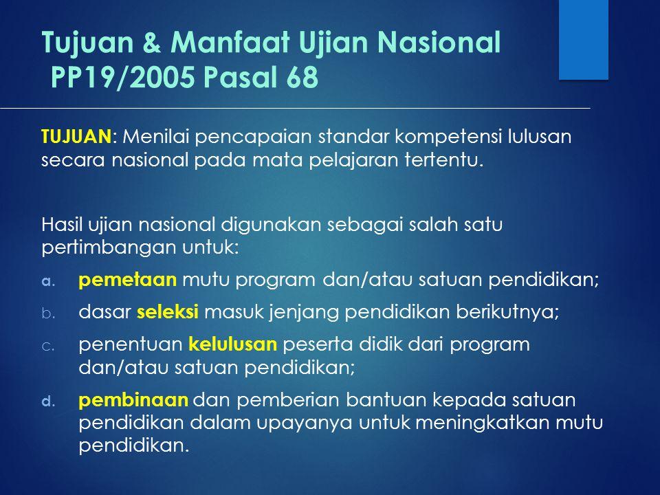 Tujuan & Manfaat Ujian Nasional PP19/2005 Pasal 68 TUJUAN : Menilai pencapaian standar kompetensi lulusan secara nasional pada mata pelajaran tertentu.
